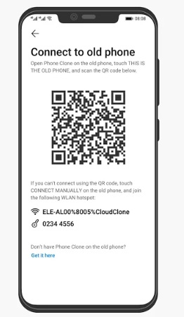Scan the QR Code on Huawei to Connect both iPhone and Huawei