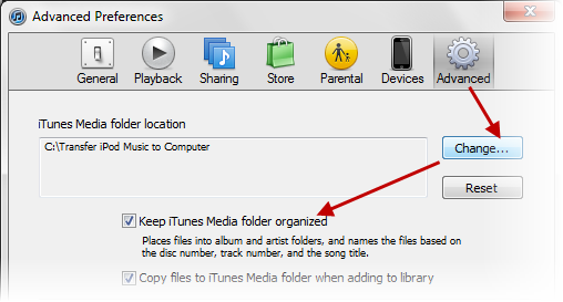 Change the Settings in iTunes