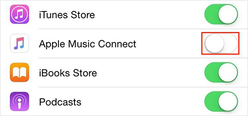 Disable Apple Music's Connect in Music on iOS 8.4 – Step 3