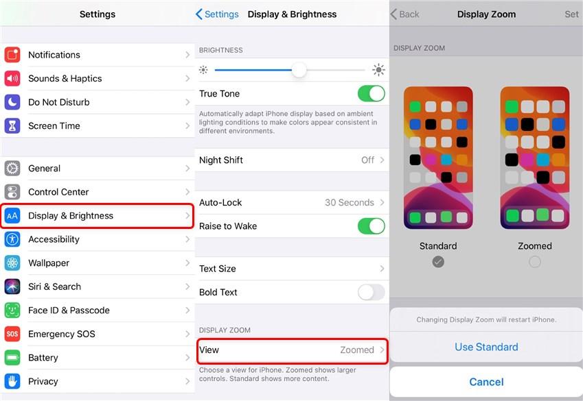 Use Standard Display on iPhone
