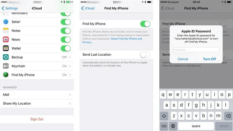 How to Turn off Find My iPhone on Settings