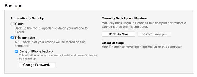 Turn off iTunes Backup Encryption