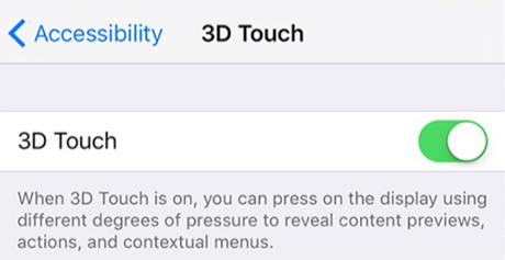 Turn on the 3D Touch Feature on iPhone