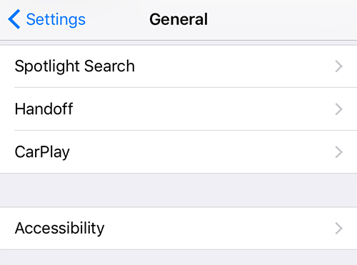 Accessing the Accessibility settings on the iPhone XR