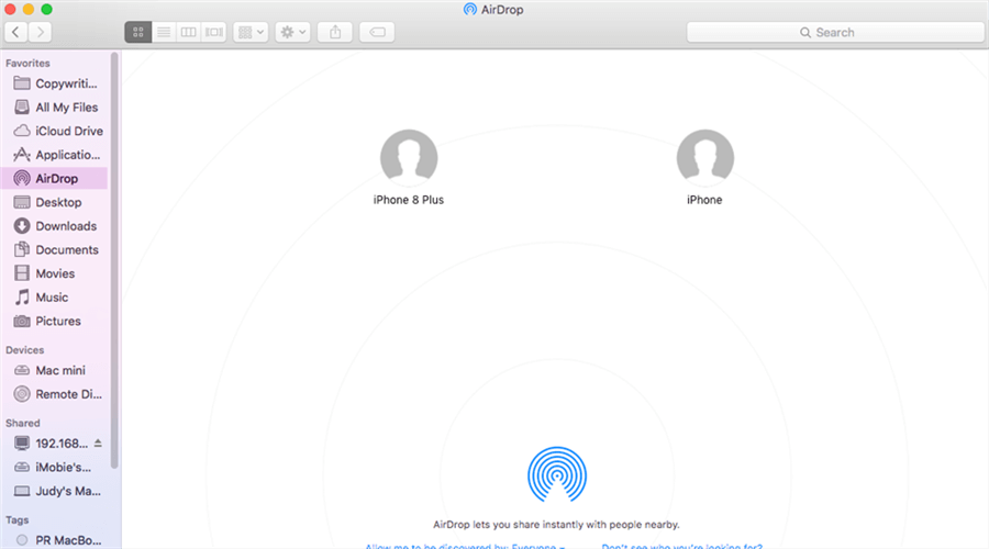 Transfer Photos from Mac to iPhone via AirDrop
