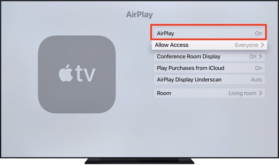 Turn On AirPlay on Apple TV