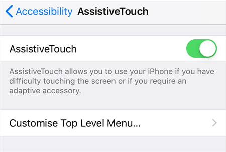 Turn on AssistiveTouch on the iPhone