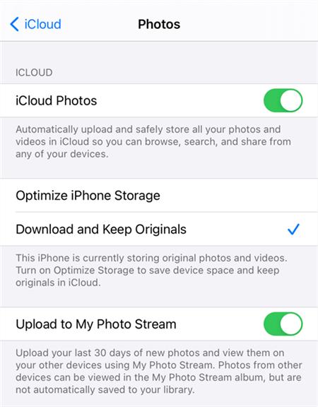 Turn on iCloud Photos on iPhone