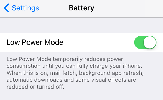 Turn on the low power mode on iPhone