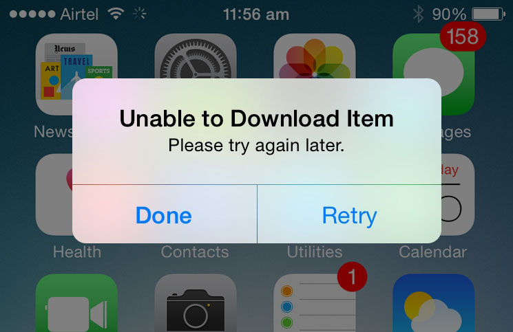 iPhone Unable to Download Item