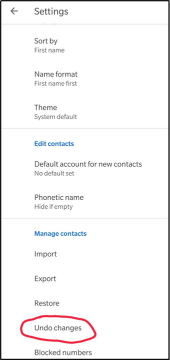 Click Undo Changes to Undelete Google Contacts