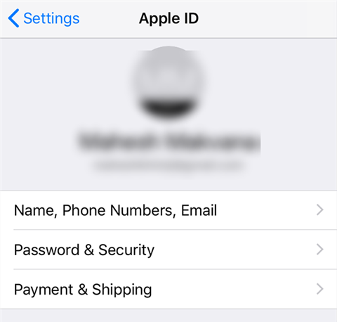 Open the password and security panel on your iPhone