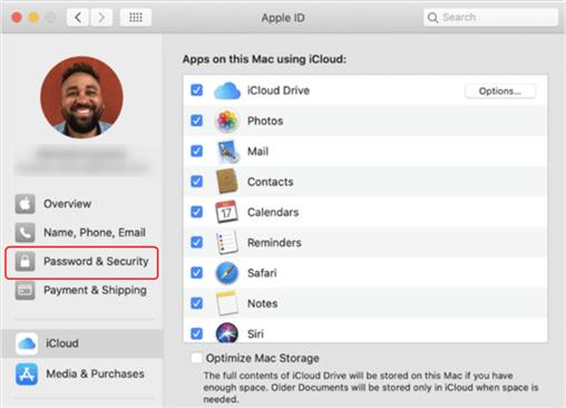 Enter Password & Security Panel on Mac