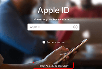 Open the forgot ID page on Apple's website