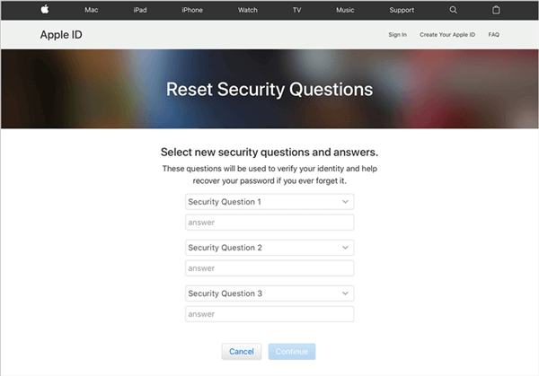 Reset your Security Questions - Step 6