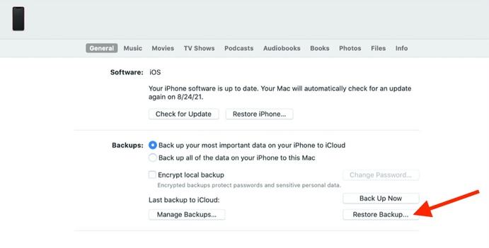 Restore Your iPhone via iTunes to Unlock It
