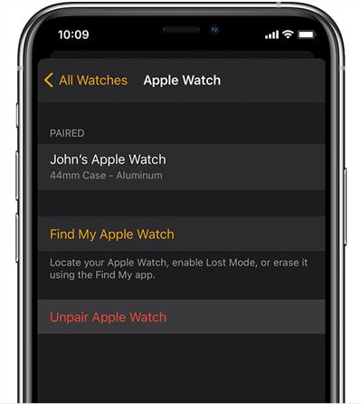 Unpair Apple Watch