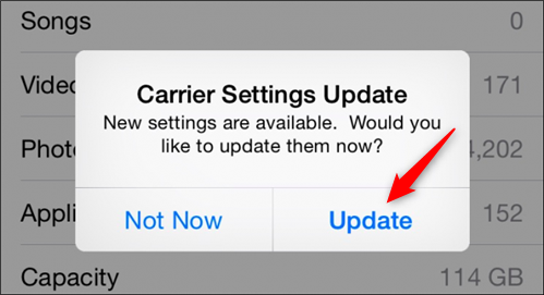 Update Available Carrier Settings