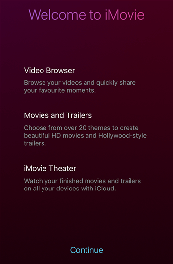 iMovie Welcome Screen on iPhone