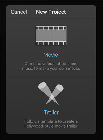 Choosing Project Type in iMovie on iPhone