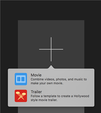 Select Project Type in iMovie on Mac