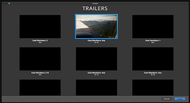 Choose Trailer Template in iMovie on Mac