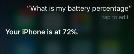 Use Siri to Find Battery Percentage