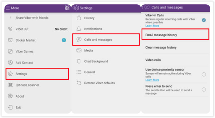 How to Backup Viber Messages on Android via Email – Step 2