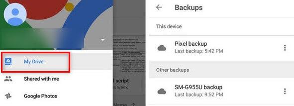 View Google Backup