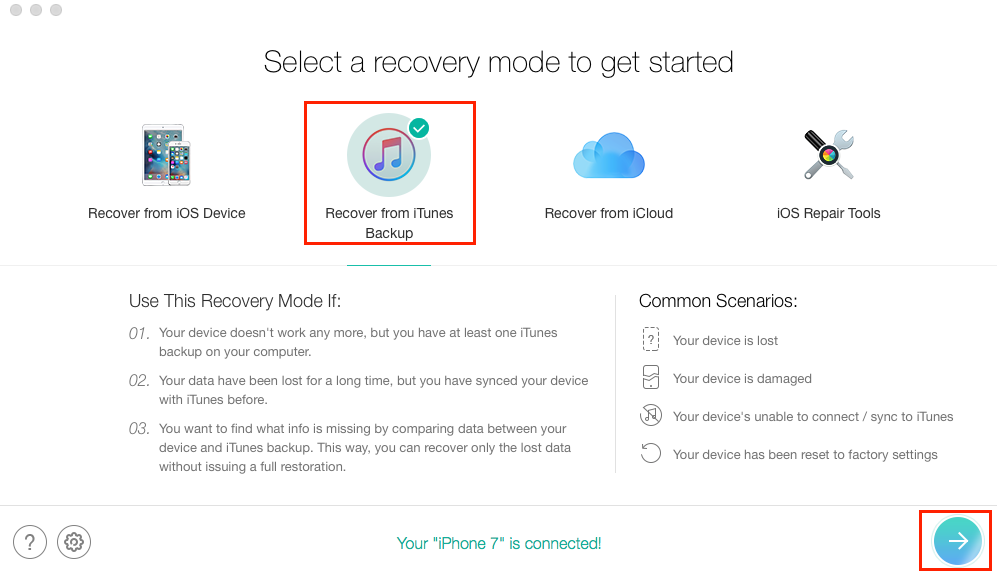 How to View Backups in iTunes with PhoneRescue – Step 1