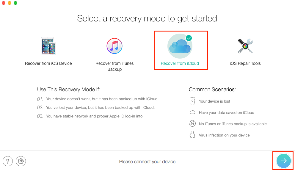 How to View Backups in iCloud with PhoneRescue – Step 1