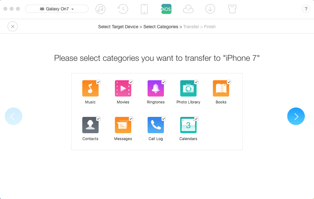 How to Transfer Files from Android to iPhone in 1 Click – Step 3