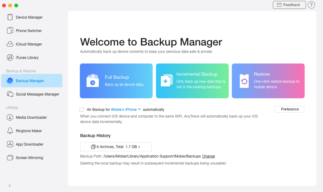 How to Selectively Backup iPhone Data - Step 1