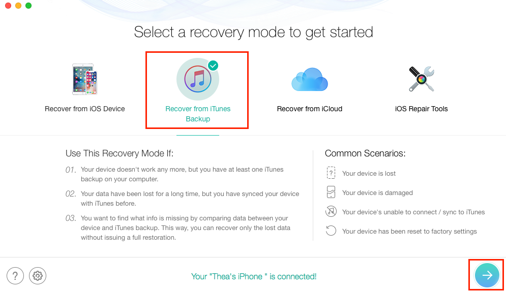 How to Selectively Restore iPhone from Backup - Step 1