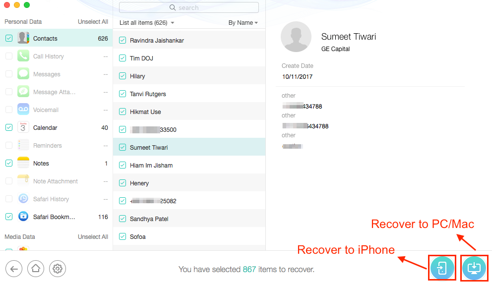 How to Selectively Restore iPhone from Backup - Step 3