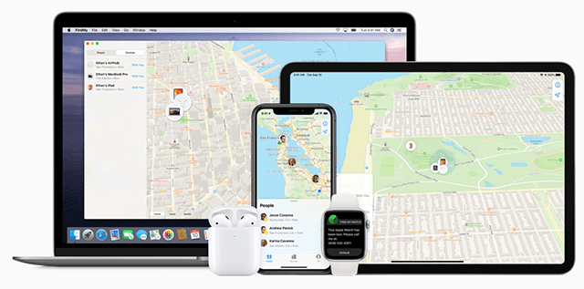 Display of Find My iPhone on iOS Devices