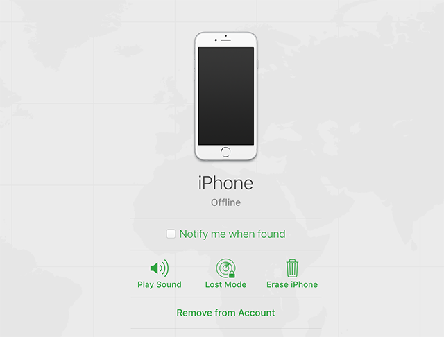 Erase the iPhone from iCloud