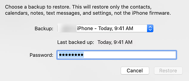 Choose A Backup to Restore on iPhone