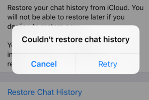 WhatsApp Restoring from iCloud not Working