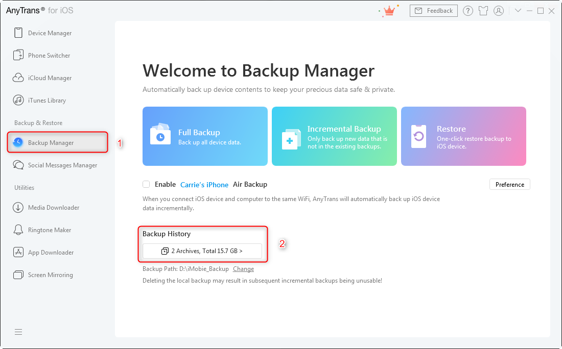 How to Access and View iTunes Backup - Step 1