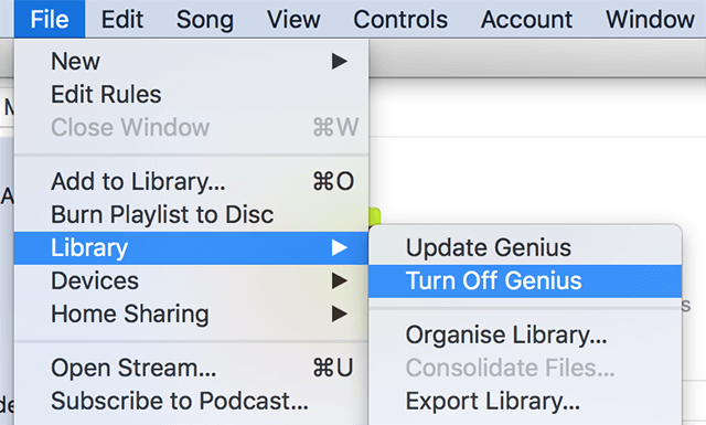 Disable Genius in iTunes
