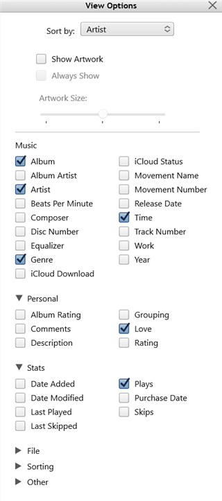 Customize iTunes viewing options