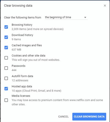 Wipe Browsing Data