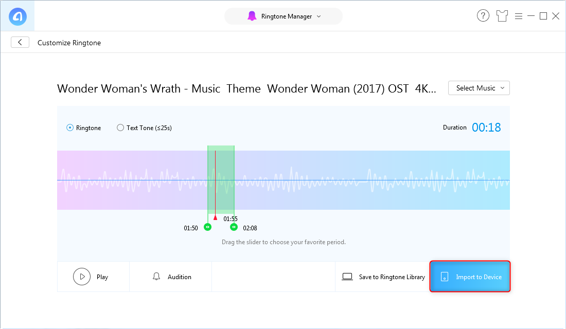 How to Convert Wonder Woman Theme Song as Ringtone to iPhone – Step 3