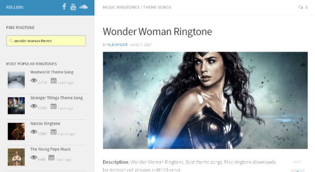 Free Download Wonder Woman Theme Ringtone – via Redringtones
