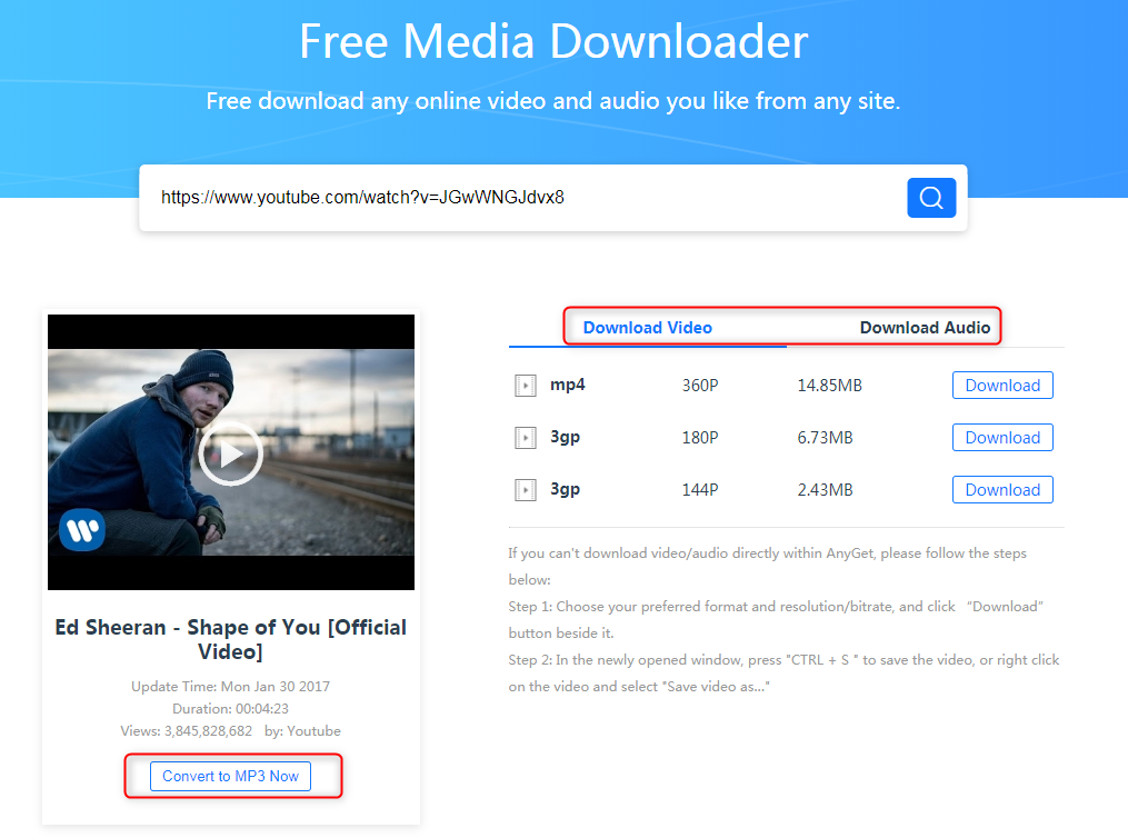 How to Download YouTube Videos with AnyGet - Step 2