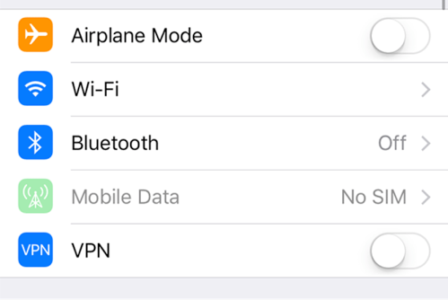 Ensure Airplane Mode Is Turned off on your iPhone