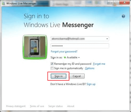Reset the Settings in Windows Live Messenger