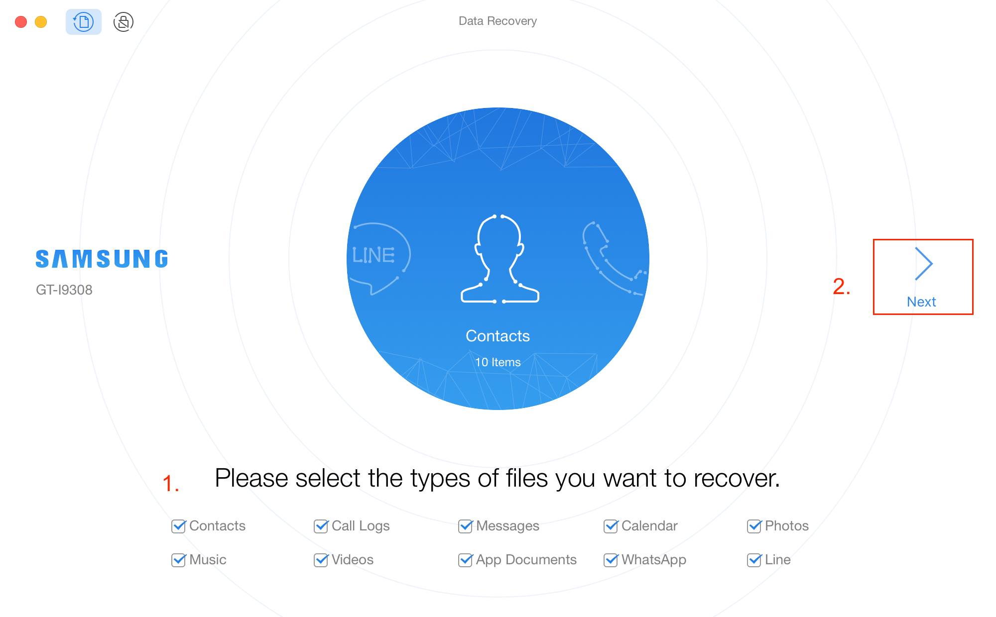 How to Recover Deleted Files from ZTE Phone - Step 2
