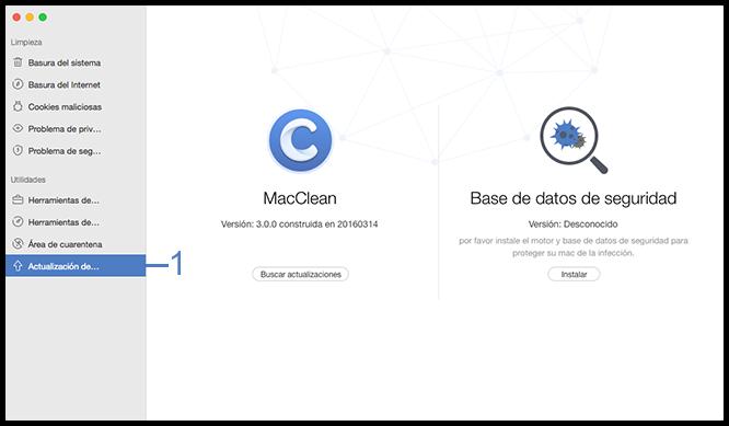 Seleccione la función MacClean